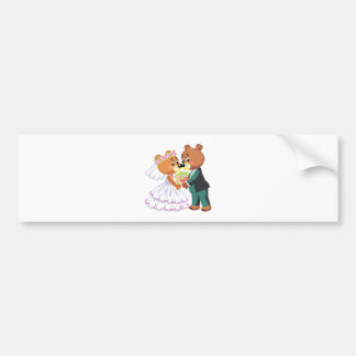 cute bride and groom teddy bears design wedding car bumper sticker