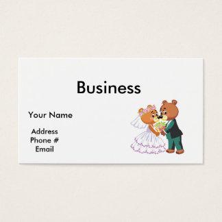 cute bride and groom teddy bears design wedding business card