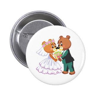 cute bride and groom teddy bears design wedding button