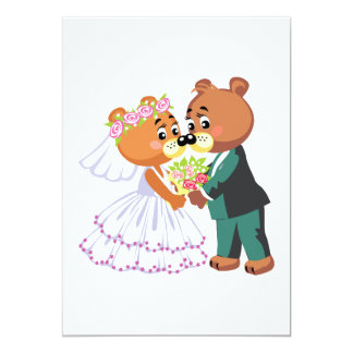 cute bride and groom teddy bears design wedding card