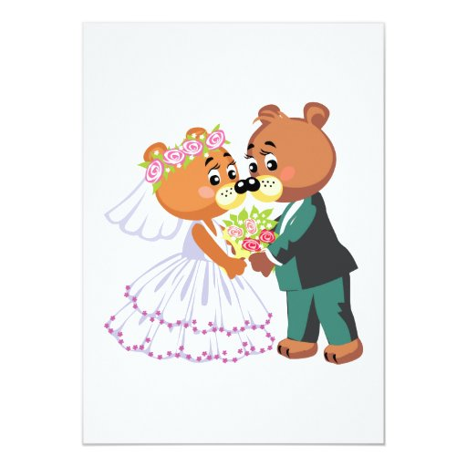 cute bride and groom teddy bears design wedding 5x7 paper invitation card