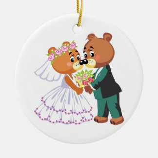 cute bride and groom teddy bears design wedding ornament