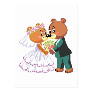 cute bride and groom teddy bears design wedding postcard