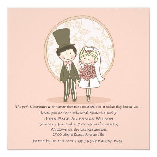 Cute Bride and Groom Wedding Rehearsal Dinner Invi Custom Invitation