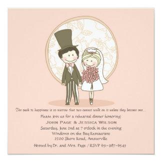 "Cute Bride and Groom Wedding Rehearsal Dinner Invi 5.25"" Square Invitation Card"