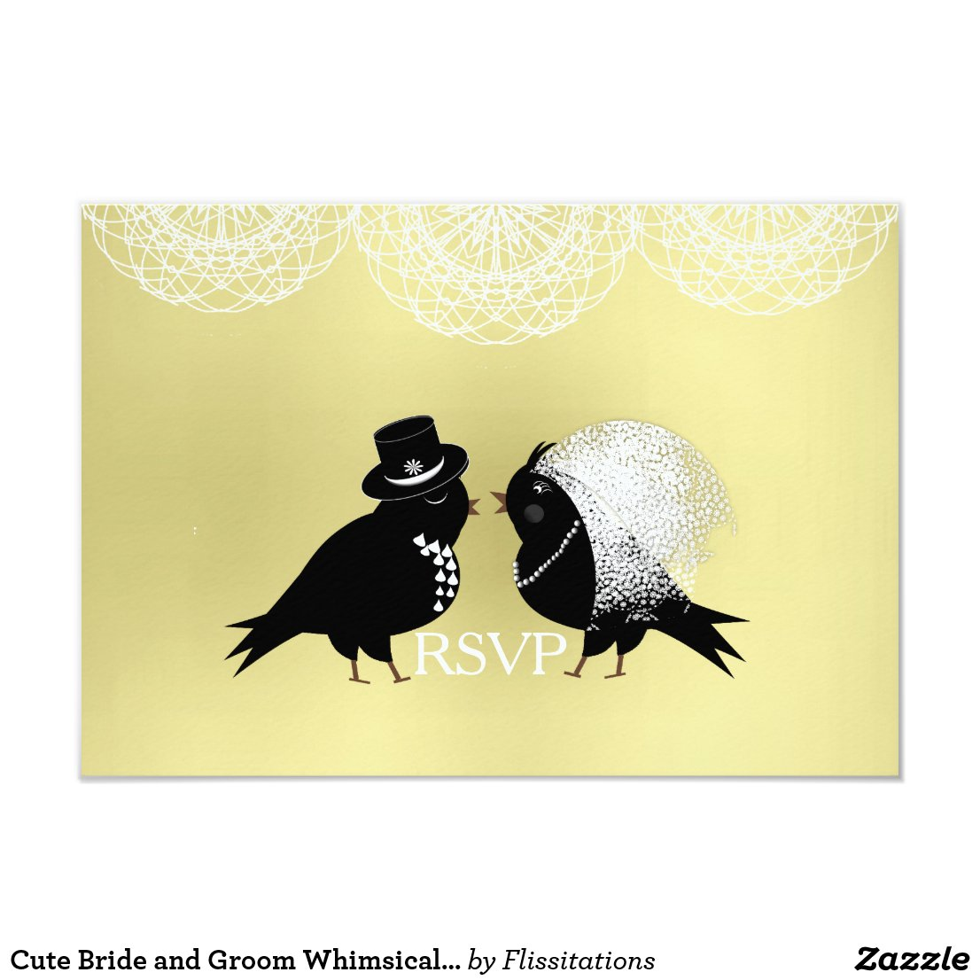 Cute Bride and Groom Whimsical Love Birds RSVPCard Card