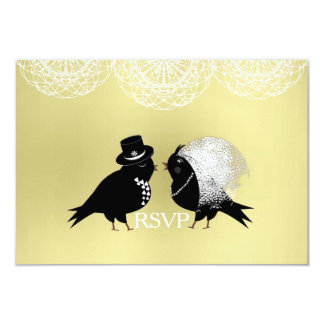 Cute Bride and Groom Whimsical Love Birds RSVPCard Invitation