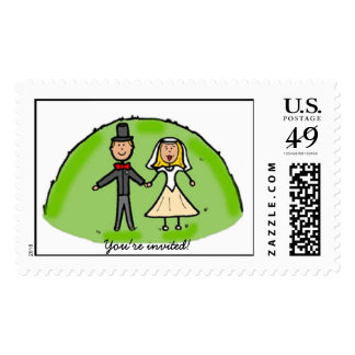 Cute bride and groom You're invited! stamp