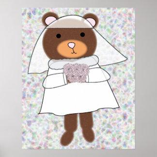 Cute Bride Bear Poster