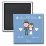 Cute Bride & Groom Blue Winter Save The Date Refrigerator Magnets