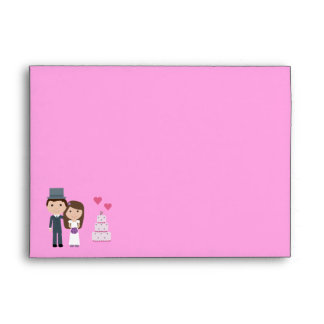 Cute Bride, Groom & Cake Pink Linen Envelopes