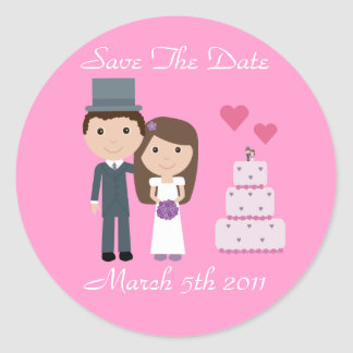 Cute Bride & Groom & Cake Pink Save The Date Stickers