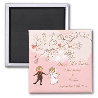 Cute Bride & Groom Dancing Save The Date Wedding Magnet