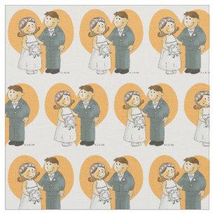 cute bride & groom in heart fabric