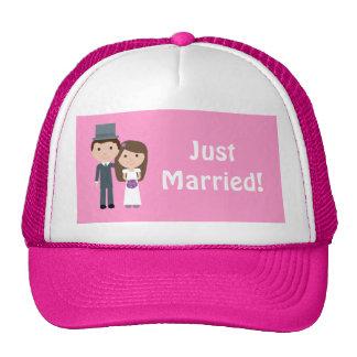 Cute Bride & Groom Just Married Customizable Pink Trucker Hat