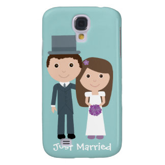 Cute Bride & Groom Just Married Customizable Samsung S4 Case