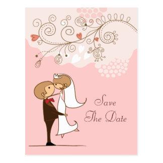 Cute Bride & Groom Kissing Save The Date Wedding Postcard