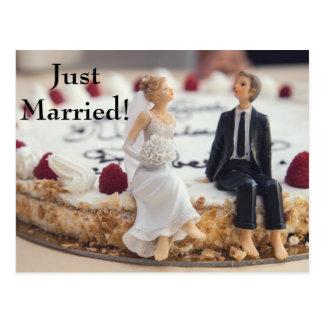Cute Bride & Groom On White Cake Postcard