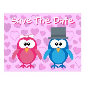 Cute Bride & Groom Owls Save The Date Wedding Postcard