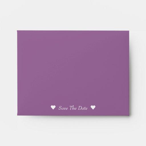 Cute Bride & Groom Purple Save The Date Envelopes