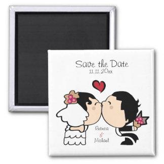 Cute Bride & Groom Save the Date (black hair) Magnet