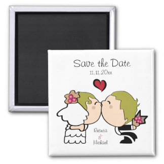 Cute Bride & Groom Save the Date Magnets (blonde)