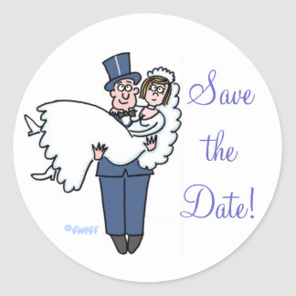 Cute Bride & Groom Save The Date Stickers