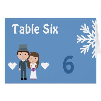 Cute Bride Groom & Snowflake Winter Seating Card