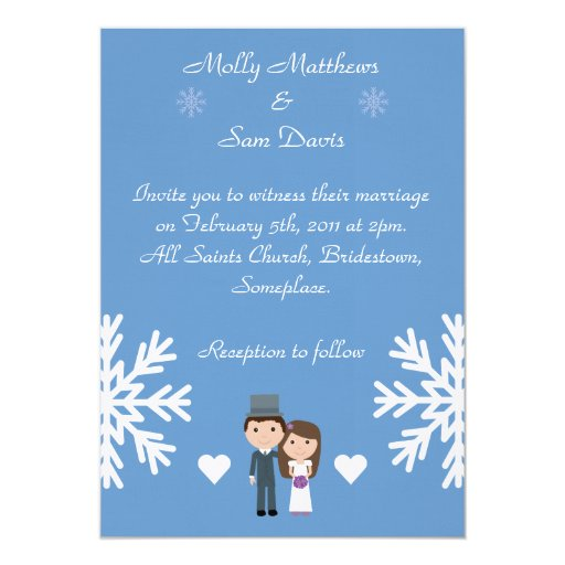 Cute Bride & Groom Snowflakes Blue Winter Wedding 5x7 Paper Invitation Card