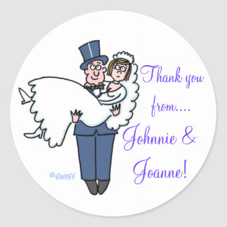 Cute Bride & Groom Thank You Stickers