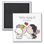 """Cute Bride & Groom """"we're doing it"""" Save the Date Fridge Magnets"""
