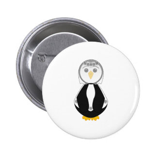 Cute Bride Penguin Button