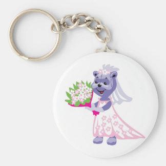 Cute Bride Teddy Bear Keychain