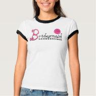 Cute BRIDESMAID Flower T Shirt Black White Pink shirt