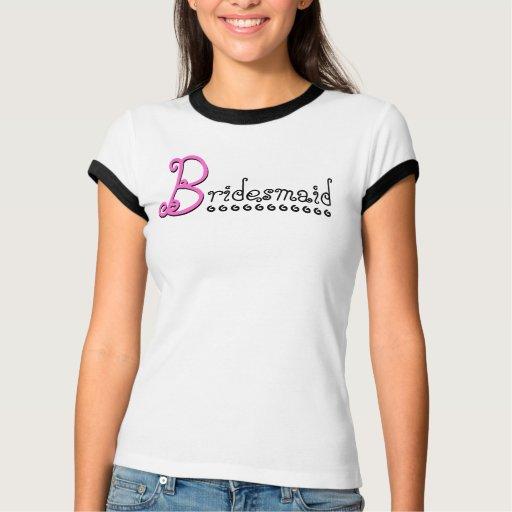 Cute BRIDESMAID T Shirt - Black White Pink