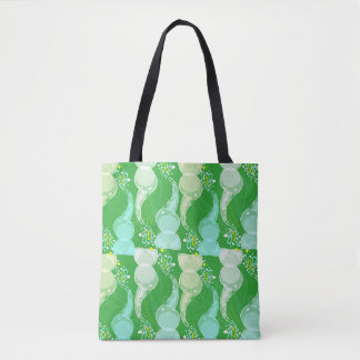 Cute bright baby elephants design on green tote bag