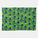 Cute Bright Blue and Green Peacock Print Hand Towels