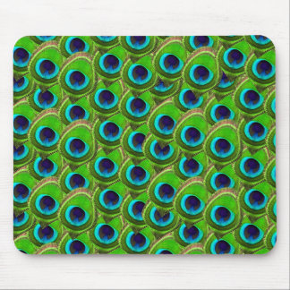 Cute Bright Blue and Green Peacock Print Mouse Pads
