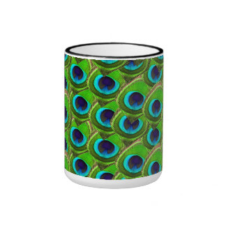 Cute Bright Blue and Green Peacock Print Ringer Coffee Mug