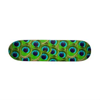 Cute Bright Blue and Green Peacock Print Custom Skate Board