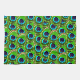 Cute Bright Blue and Green Peacock Print Towels