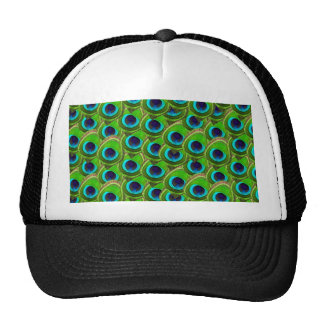 Cute Bright Blue and Green Peacock Print Trucker Hat