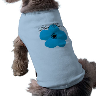 Cute Bright Blue Flower Dog Tee