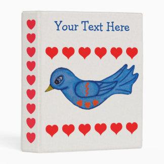 Cute Bright Blue Folk Art Bluebird Red Hearts Mini Binder