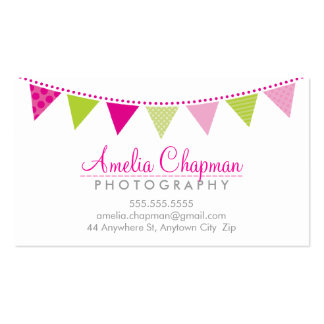 CUTE BRIGHT BUNTING bold party pink lime green Double-Sided Standard Business Cards (Pack Of 100)