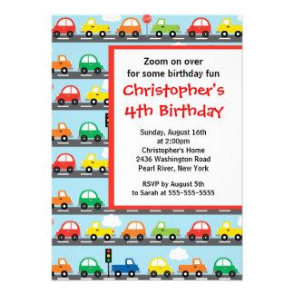 Cute Bright Colorful Cars Birthday Party Custom Invitation