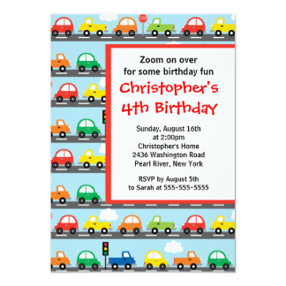 "Cute Bright & Colorful Cars Birthday Party 5"" X 7"" Invitation Card"
