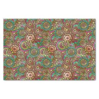 Cute Bright Colors Retro Circles Floral Pattern Tissue Paper