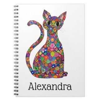 Cute Bright Geometric Pattern Cat Monogram Name