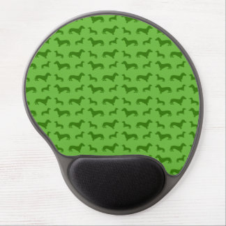 Cute bright green dachshund pattern gel mouse pad